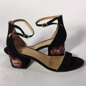 Express Black Beaded Heels with Ankle Straps